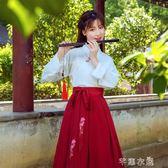 漢服秋裝改良中國風學生套裝古裝仙女飄逸清新淡雅古風長裙女襦裙 千惠衣屋