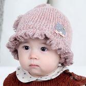 嬰兒帽子秋冬0-3-6-9個月女寶寶毛線帽花邊公主針織帽新生兒胎帽【全館免運八五折】