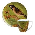 德國Waechtersbach經典彩繪系列390ml馬克杯+21cm盤組-Nature小鳥