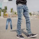 牛仔褲 韓國製洗舊刷色小抓破彈性小直筒牛...