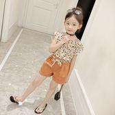 女童夏季套裝2018新款韓版童裝女夏裝中大童雪紡短袖兒童兩件套潮 易貨居