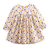 童裝 現貨 純棉彩色點點小女生長袖洋裝【64095】