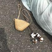 韓國chic包夏天小包包女ins草編小包草包編織包迷你沙灘包斜挎包 金曼麗莎