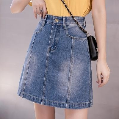 S-5XL牛仔半身裙~春季新款牛仔裙半身裙女高腰寬松A字牛仔短裙58251F039日韓屋
