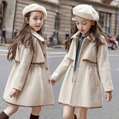 女童毛呢外套 女童呢子大衣新款韓版洋氣夾棉加厚秋冬款中大童收腰毛呢外套 麗人印象 免運