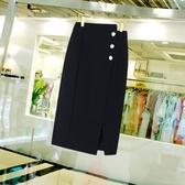 新款黑色針織半身裙夏季中長款前開叉不規則高腰一步裙包臀裙子女