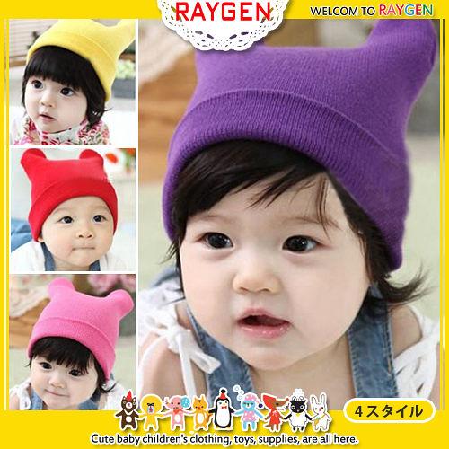 兒童四色針織毛線雙牛角寶寶帽/ 護耳帽/ 套頭帽/ 嬰兒帽