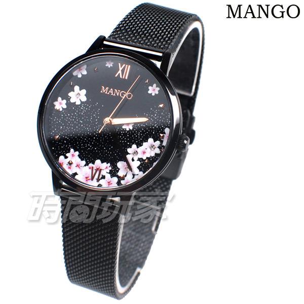 (活動價) MANGO 公司貨 櫻吹雪 日系風格 羅馬時刻 不鏽鋼 米蘭帶 女錶 防水手錶 IP黑電鍍 MA6758L-BK