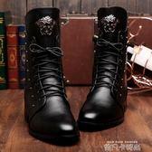 冬季男靴子韓版潮流高幫靴內增高鉚釘中筒靴春秋尖頭皮靴馬丁靴男 依凡卡時尚