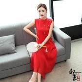 無袖洋裝大尺碼實拍大尺碼紅色真絲連身裙桑蠶絲中長款裙子女 降價兩天