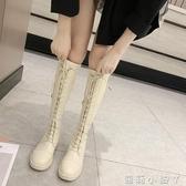 長筒靴女不過膝2020春秋新款高筒靴馬靴彈力靴子騎士靴綁帶長靴女冬 蘿莉小腳丫
