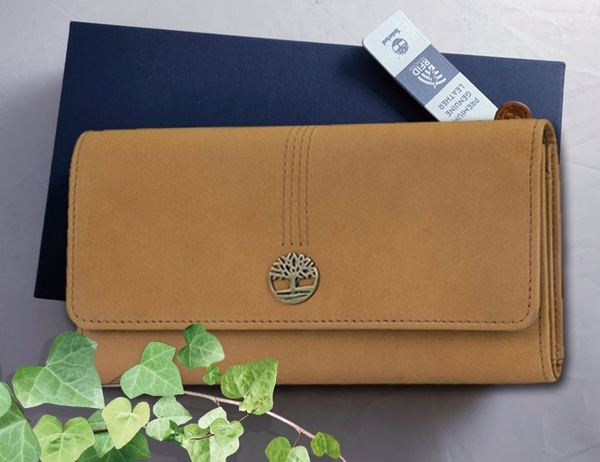【Timberland】女皮夾 長夾 麂皮牛皮夾 上翻暗扣錢包 多卡夾+拉鍊零錢袋 手拿包/棕