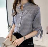 特賣款不退換韓版上衣中大尺碼M-4XL/33739春夏裝新款韓版寬松條紋上衣1號公館