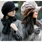 帽子女秋冬韓版潮冬天百搭毛線帽羊毛貝雷帽保暖針織鴨舌帽堆堆帽