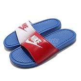 Nike 涼拖鞋 Benassi JDI 藍 紅 白 男鞋 女鞋 Just Do It 陰陽 鴛鴦【ACS】 343880-415