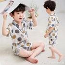 兒童空調服男童棉麻睡衣洋氣2021新款夏季寶寶家居服薄款男孩短袖 快速出貨