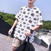 夏季五分袖男士短袖T恤男寬鬆港風小清新半袖潮流情侶沙灘上衣服-Ifashion
