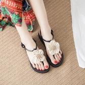 涼鞋花朵涼鞋女夏甜美平底百搭海邊平跟沙灘鞋女