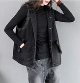 連帽外套~牛仔外套~連帽字母馬甲復古工裝無袖牛仔馬夾女背心短外套171.DC117E衣時尚