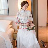 漢服古裝原創中國風兩件套定位花茶服日常改良漢服上衣 半身裙紗 店慶降價