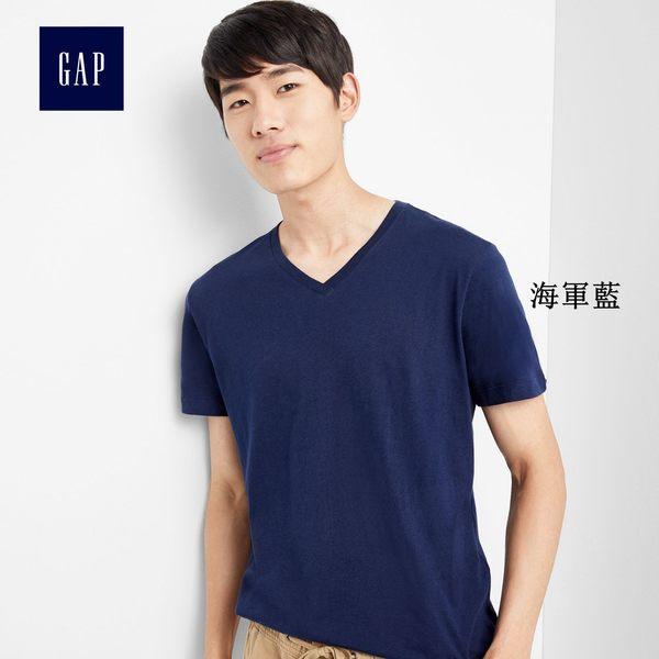 Gap男裝 基礎款純色V領短袖T恤 645979-海軍藍