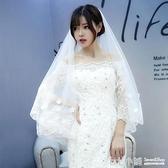 新娘頭紗婚紗新款韓式長拖尾頭紗頭飾超仙女婚禮森系旅拍花朵頭紗