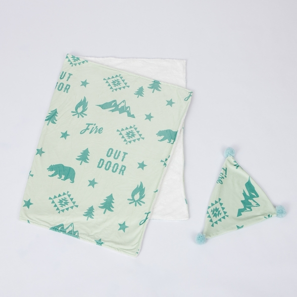【年前到貨】探險森林三角蓋毯靠枕組-綠-生活工場