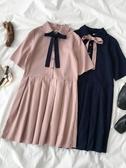 連身裙高腰連身裙夏季女裝韓版polo領綁帶短袖娃娃百摺短裙子 新品