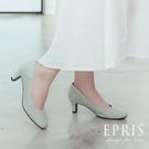 現貨 婚鞋女鞋推薦 素面圓頭拼接跟鞋 真皮腳墊高跟鞋MIT 21-25.5 EPRIS艾佩絲-莫蘭迪藍