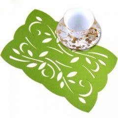 長方形鏤空時尚毛氈多功能墊 杯墊 隔熱墊 餐墊 (綠色花邊)-艾發現