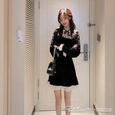 少女小黑裙秋冬蕾絲拼接連身裙絲絨氣質收腰顯瘦內搭打底短裙 阿卡娜