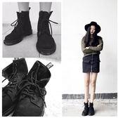 馬丁靴 英倫風粗跟短筒靴 圓頭系帶騎士機車靴
