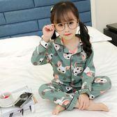 女童兒童睡衣春秋夏季長袖純棉寶寶中大童小孩公主薄款親子家居服   任選一件享八折