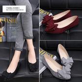蝴蝶結尖頭黑色單鞋女平底平跟低跟工作瓢鞋淺口百搭  黛尼時尚精品