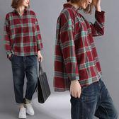 復古色系格紋襯衫上衣-多尺碼 獨具衣格