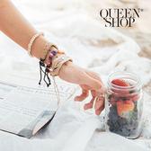 Queen Shop【07050131】彩色編織手環四件套組*預購*