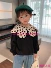 【秋季新品】韓版女童洋氣衛衣秋裝新款寶寶網紅花邊領上衣兒童時尚套頭衫【風鈴之家】