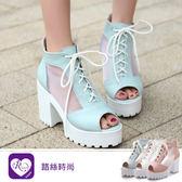 歐美性感簍空綁帶設計魚口厚底高跟涼鞋/3色/35-43碼 (RX1092-9934) iRurus 路絲時尚