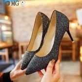 高跟鞋 婚禮銀色尖頭高跟鞋亮片婚鞋漸變色細跟單鞋女金色伴娘鞋年會宴會