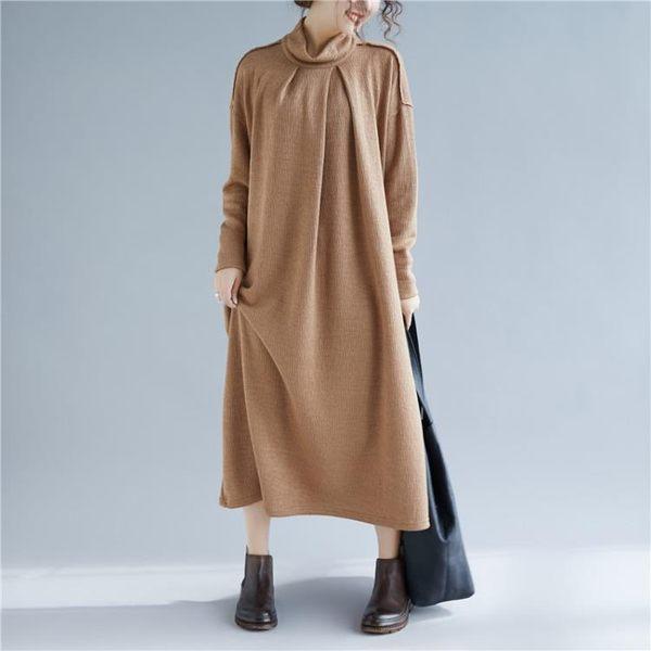 純色半高領洋裝連身裙女 文藝氣質加厚大尺碼中長款針織裙子 快速出貨