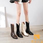 馬丁靴粗跟薄款中筒西部牛仔靴尖頭短靴女夏【慢客生活】