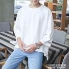 夏季七分袖T恤男韓版寬鬆潮流BF風學生7分中袖情侶嘻哈ins上衣服 1995生活雜貨
