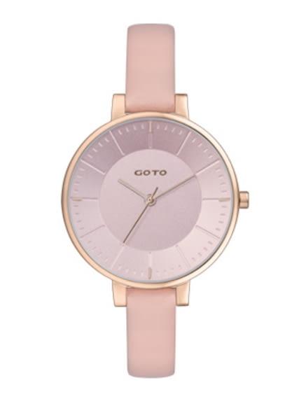 【時間道】[GOTO。錶]簡約有秒針時尚腕錶/嫩粉面玫瑰金殼粉皮(GL1040L-48-841)免運費