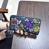 2018新款女士錢包長款拉鏈錢夾真皮多功能皮夾復古大容量女手拿包
