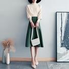 針織半身裙上衣兩件套法式小眾復古氣質簡約圓領長袖學院風套裝女 果果輕時尚