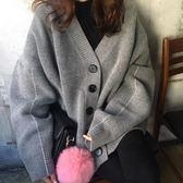 2018秋冬新款女V領加厚慵懶風長袖中長款毛衣寬鬆外套針織開衫  晴光小語