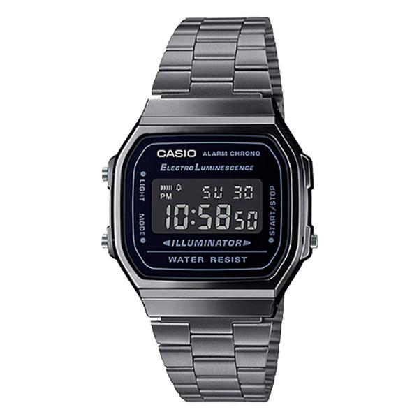 CASIO 卡西歐 手錶專賣店A168WGG-1B 復古電子錶 不鏽鋼錶帶 煙燻灰 自動月曆 生活防水 A168WGG