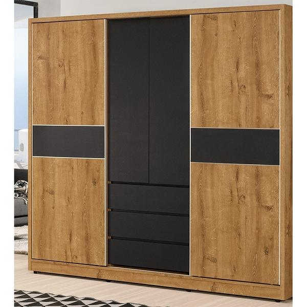 【森可家居】喬納森7尺拉門衣櫥 8CM521-1 衣櫃 木紋質感