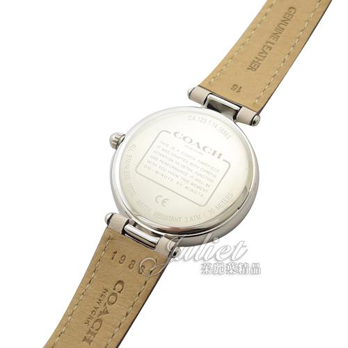 茱麗葉精品【全新現貨】COACH 馬車LOGO刺繡花卉晶鑽腕錶.淺駝/銀