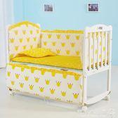 嬰兒床  嬰兒床實木搖籃床白色寶寶新生兒拼接大床無漆多功能兒童bb床搖床igo  歐韓流行館